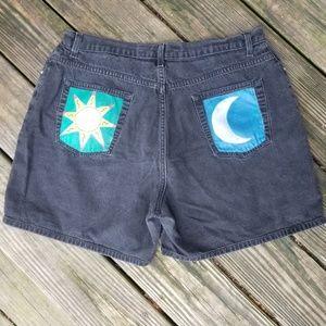 Hand painted black denim shorts